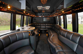 Executive Coach Interior for Wedding Party Transportation